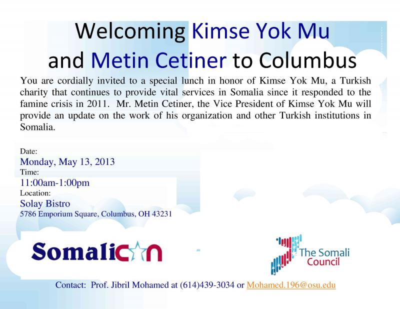 Turkish Charity Kimse Yok Mu to Columbus, Ohio: May 13, 2013